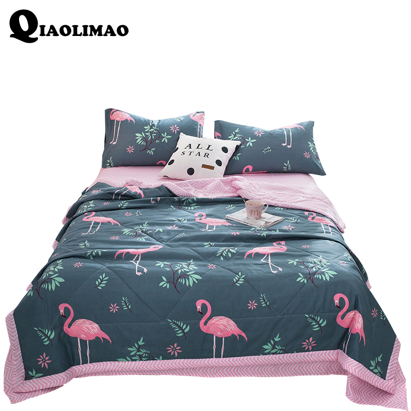 Bedding Sets Home & Garden Helpful 2018 New Cartoon Flamingo Blanket Comforter Bed Cover Quilting Summer Quilt Bedding Sets Suitable Pillowcases Flat Sheet 3/4 Pcs Distinctive For Its Traditional Properties