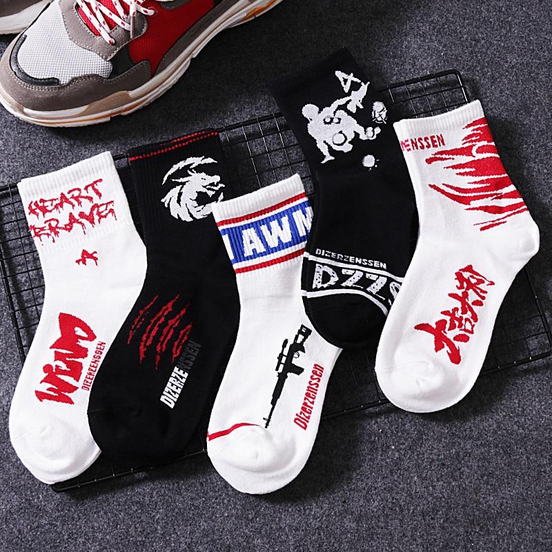Personality Cotton Crew   Socks   Male Stripe Letter Cool Hip Hop harajuku Skateboard Autumn Winter Long   Socks   For Men Women
