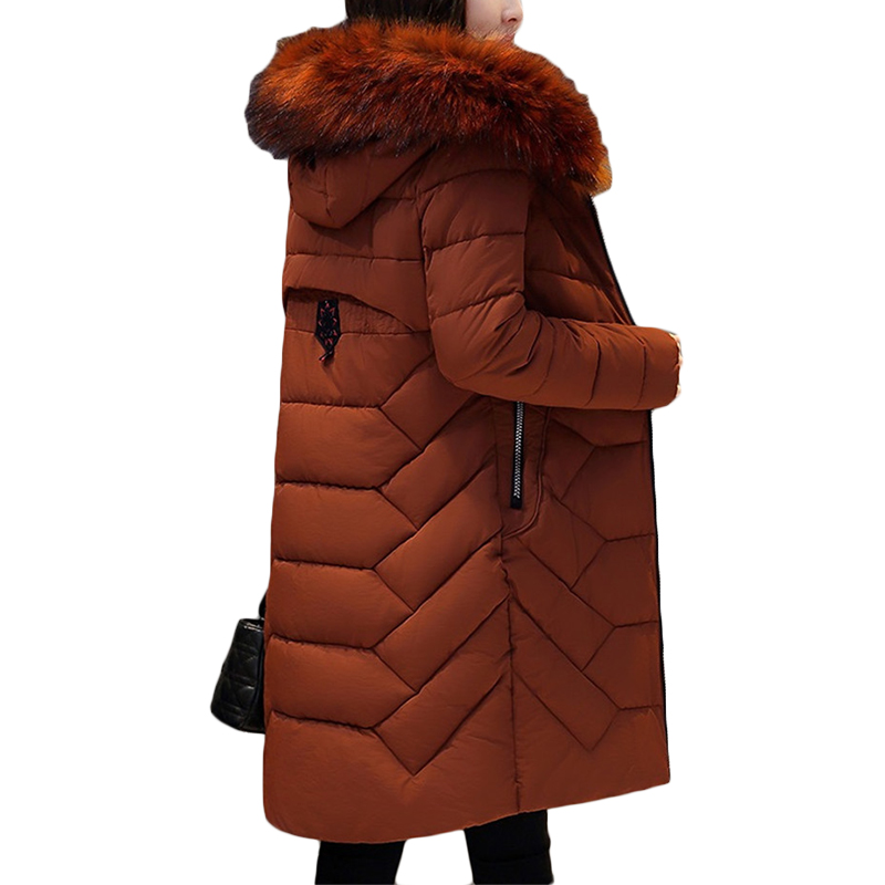 New Winter Warmth Straight Down cotton Jacket Fashion Hooded Fur collar Long Coat Plus size Womens