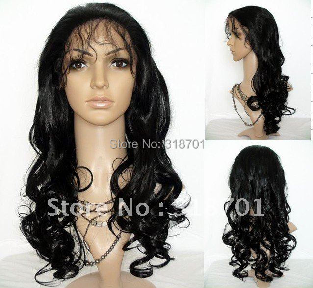 (Free Shipping) 12-24 Body Curl #1 jet Black Heat Resistant Hair Lace Front Wigs
