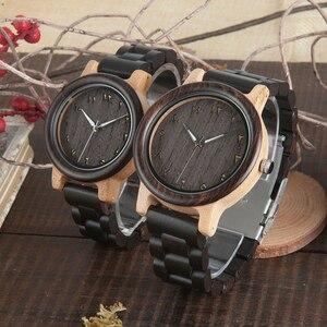 Image 2 - BOBO VOGEL Paar Uhr Holz Band Armbanduhr Männer reloj hombre Bambus Fall Name Gravieren Grooms Geschenk in Box Dropshipping Anpassen