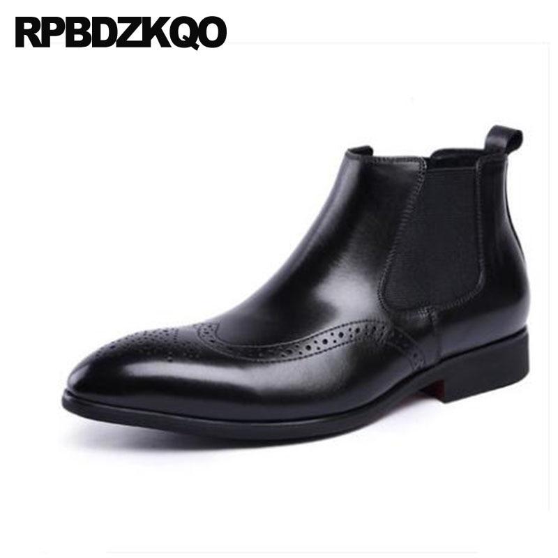 Brogue Chelsea Grain Pelz Formale Full Booties Business Schuhe Party Stiefel Spitz Herren Knöchel Slip Auf Schwarzes Flügelspitze Kleid Winter wnBZaAnOq
