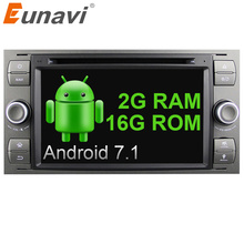 Eunavi 7″ in dash 2 din Android 7.1 Car DVD Player Car GPS stereo OBD2 for Ford C-Max Fiesta Fusion Kuga Mondeo Focus with radio