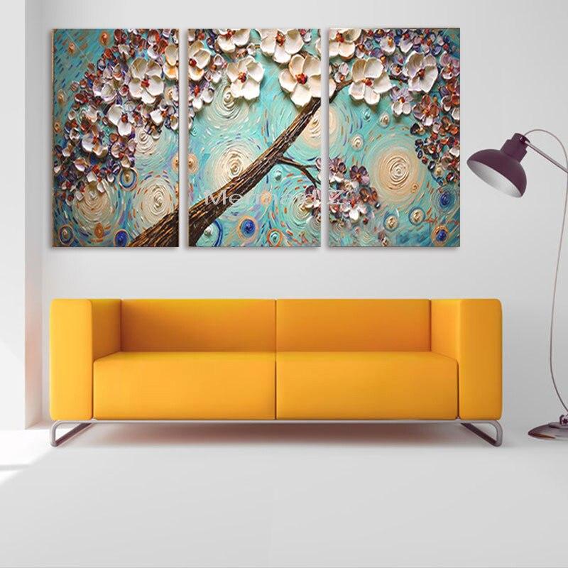 Peint à la main mur texturé violet épais Palette couteau arbre et fleur peinture à l'huile toile mur salon Art d'art