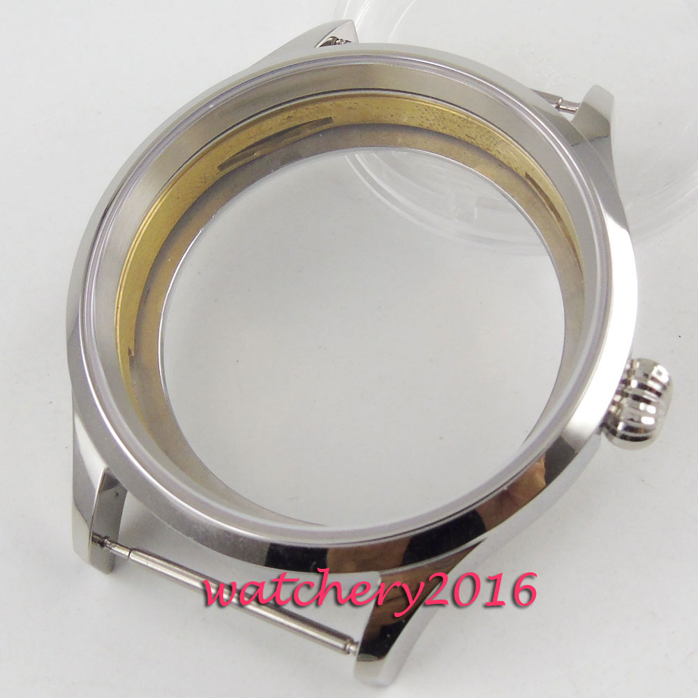 Polished 43mm sterile steel Watch CASE sapphire glass fit 6498 6497 movement Polished 43mm sterile steel Watch CASE sapphire glass fit 6498 6497 movement