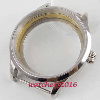 Polished 43mm sterile steel Watch CASE sapphire glass fit 6498 6497 movement - DISCOUNT ITEM  31% OFF All Category