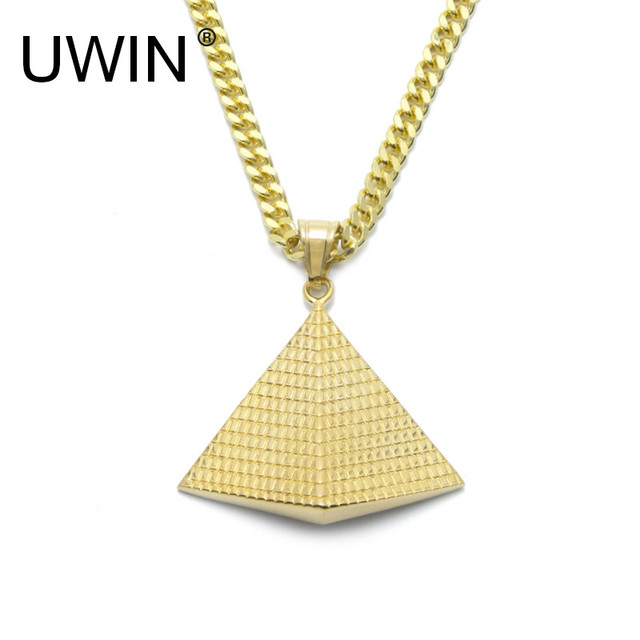UWIN Gold Egyptian Pyramid Pendant Charm Necklace Gold Color 316L