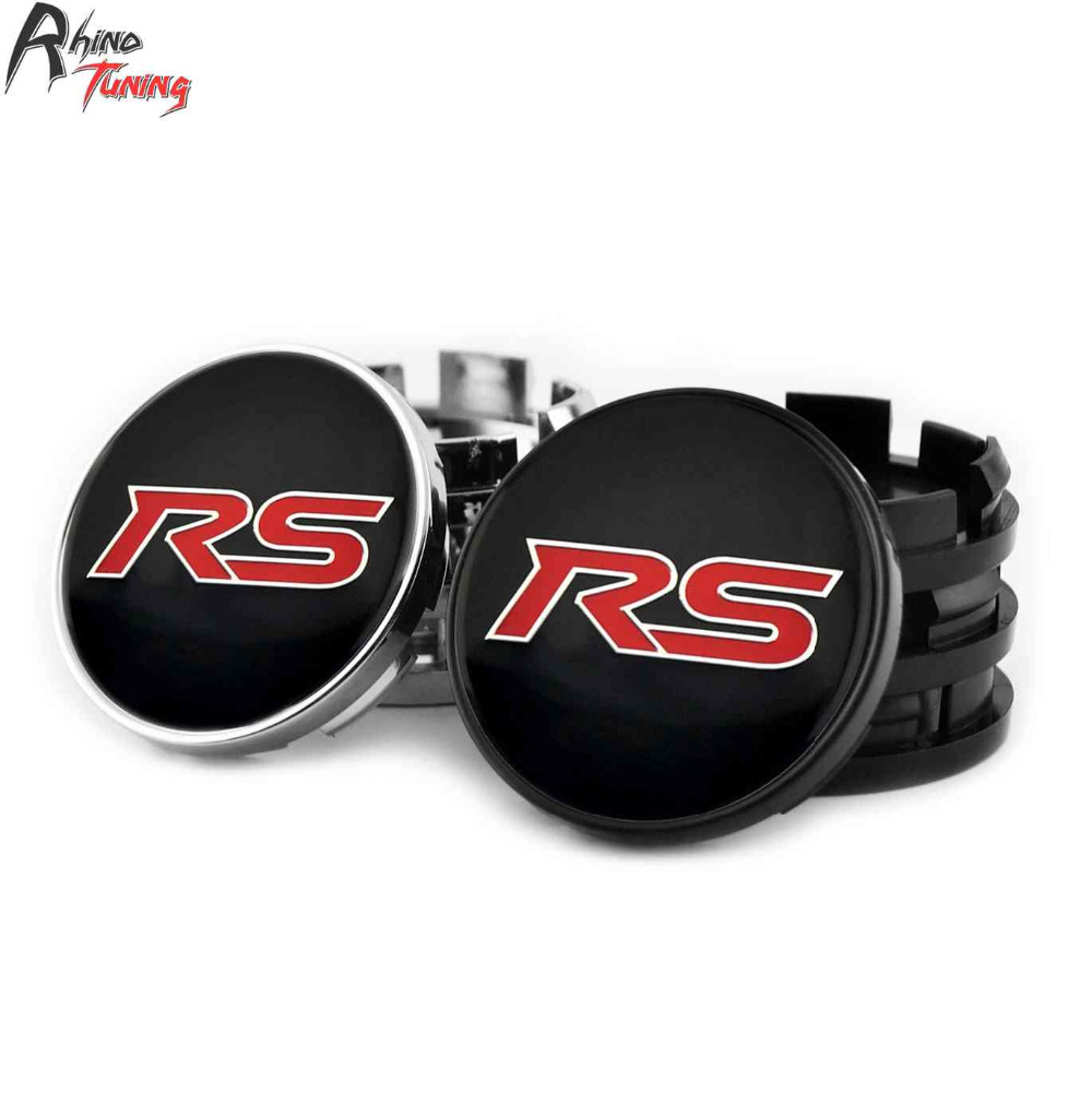 Rhino Tuning 4PC 60mm Red RS Car Racing Auto Styling Wheel Center Centre Cap Emblem For Escape Fusion 373