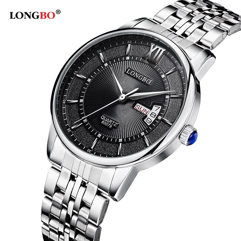 LONGBO Brand Top Luxury Full Steel Men Watches Men Business Watch Auto Date 3ATM Waterproof Quartz Relogio Masculino 80079 longbo men and women stainless steel watches luxury brand quartz wrist watches date business lover couple 30m waterproof watches