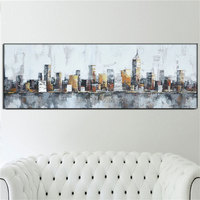 Handpainted Abstract Oil Paintings on Canvas NEW YORK Home Decor White Gray city Picture Large Wall Painting Art for Living Room