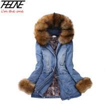 Novo Casaco de Inverno Mulheres Denim Jackets Big Faux Fur Com Capuz grosso Outwear Quente Longo Ocasional de Algodão Acolchoado Parkas Das Mulheres Calças de Brim Denim
