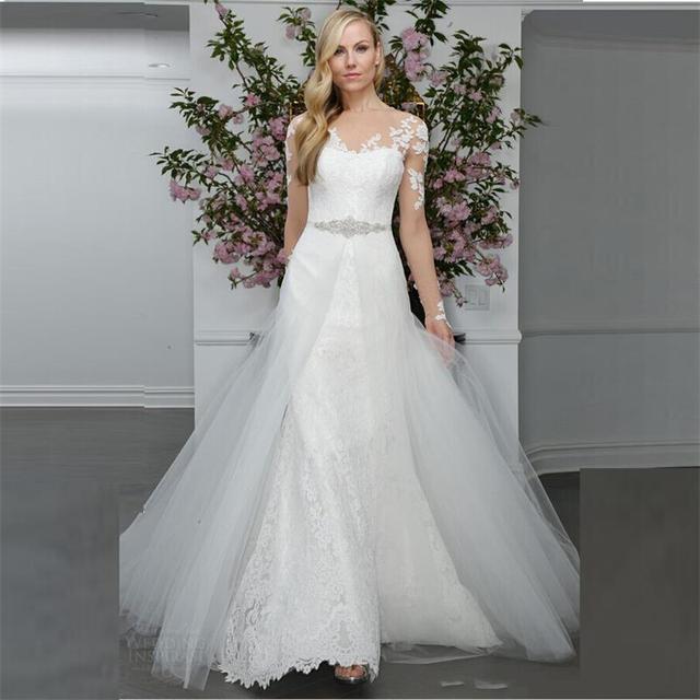 ee19d1a394 Alta calidad blanca elegante de la nueva vestidos novia 2016 primavera  Mermaid pura cuello mangas largas
