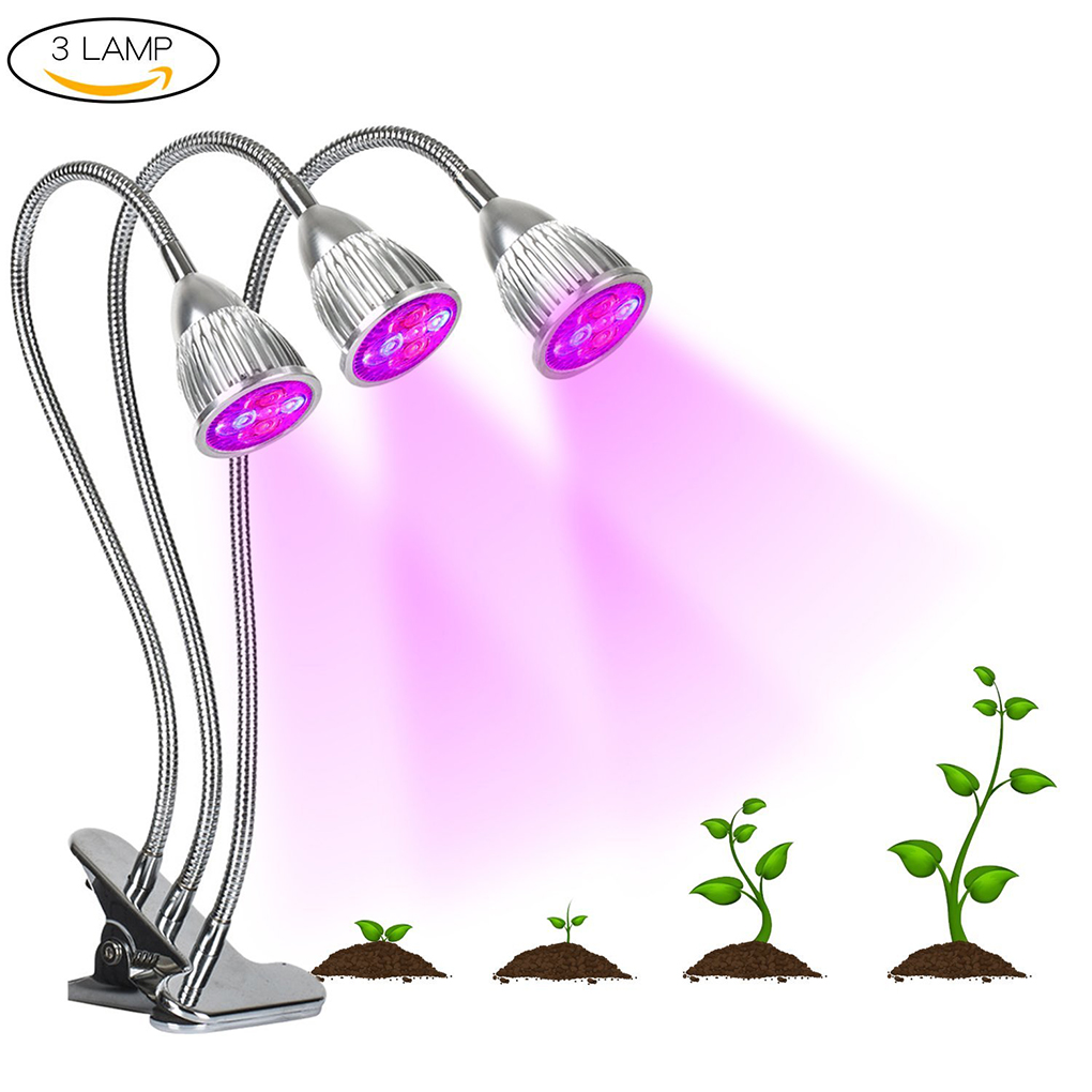 15W 360 Degree Three Head LED Plant Grow Light Flexible Indoor Grow Light Plant Grow Lamp For Indoor Plants Greenhouse-in LED Grow Lights from Lights & Lighting