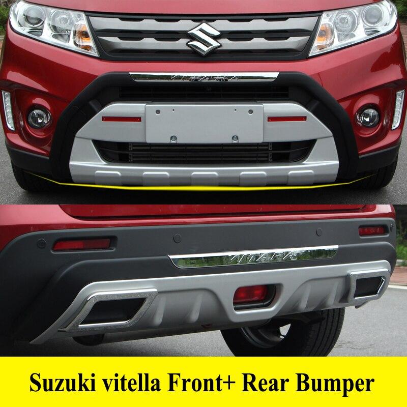 JIOYNG Pour Suzuki Vitara 2016-2018 Avant + Pare-chocs Arrière Diffuseur Pare-chocs Protecteur pour les Lèvres Garde plaque de protection ABS Chrome finition 2PES