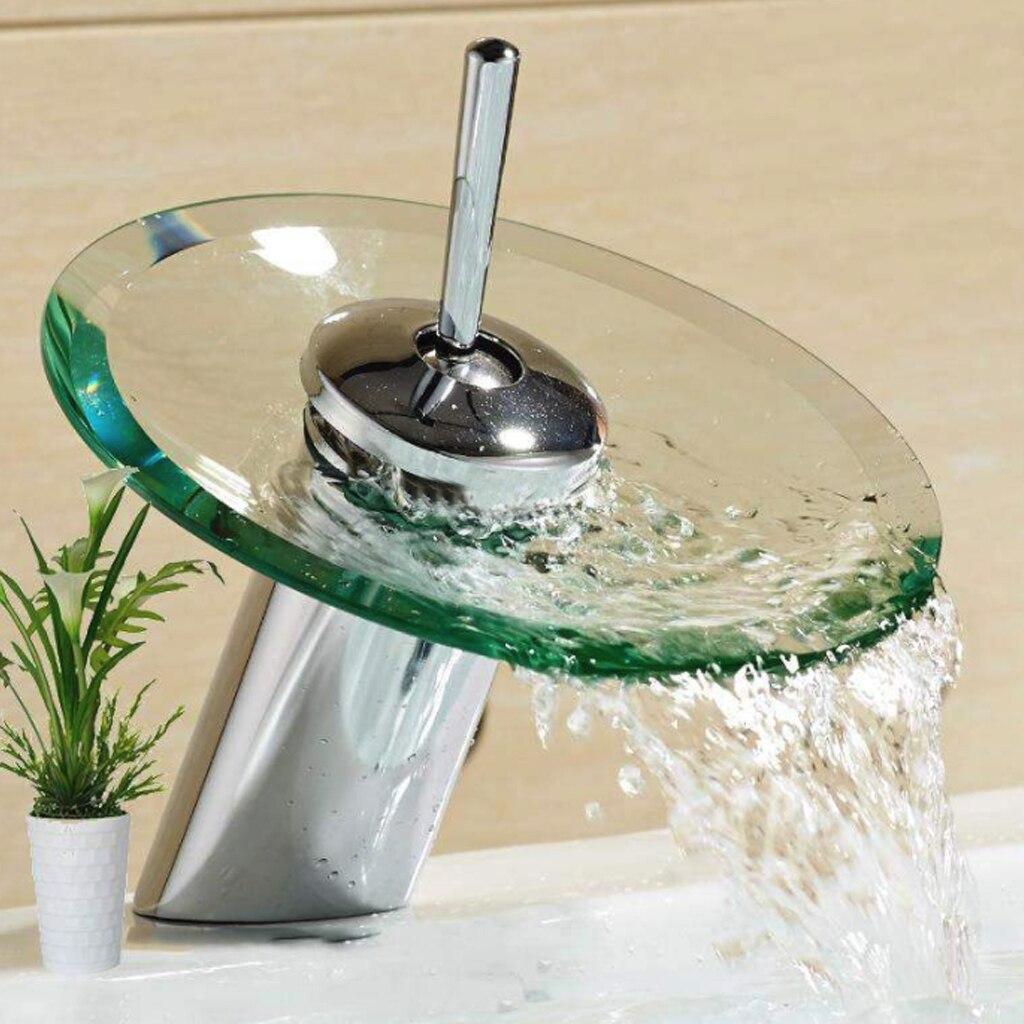 Cachoeira bacia toque pia do banheiro torneira misturadora chrome polido borda de vidro torneira com tubo de entrada água