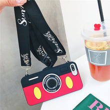 Mickey Mouse Camera iphone case with Lanyard for iPhone XS MAX XS XR X 7 8 plus 7 8 6 6s 6s plus