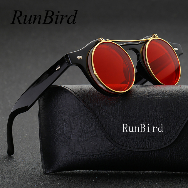 978a6e4b2ed Steampunk Goth Goggles Retro Flip Up Round Sun Glasses for Women Vintage  Black Sunglasses Men Oculos de sol Feminino R036