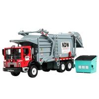 Diecast 1:24 Simulation Glider Metal Toy Vehicle Material Transporter Alloy Car Model Garbage Sanitation Truck Models Boys Toys