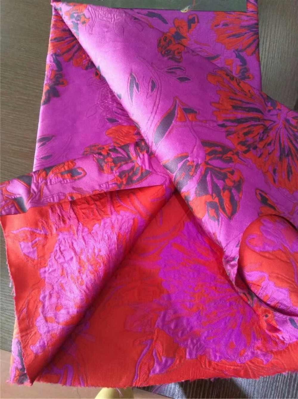 145 см широкий красный золотой цветочный жаккардовая ткань для Весна и осень платье куртка одежда DGH06