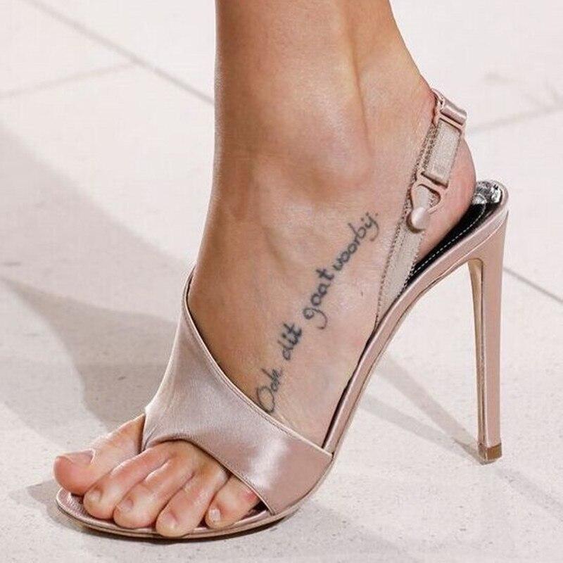 ФОТО Thin High Heels Beige Satin Sandals Klippzehe Sling Sandalen Banquet Schuhe Slipper Sandals Back Strap Elastic Band Sandalias