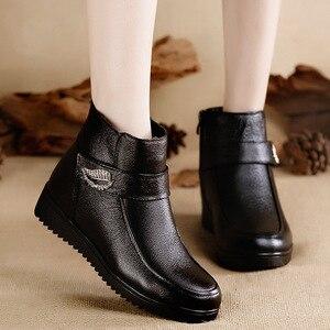 Image 5 - Женские ботинки из натуральной кожи OUKAHUI, черные теплые ботинки на низком каблуке, с кристаллами, из 100% натуральной шерсти, весна зима 2019