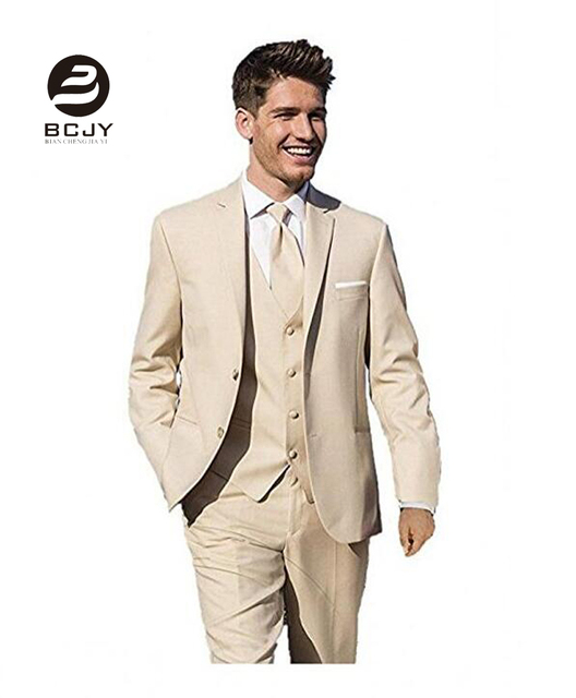 3 Pieces Khaki Wedding Suits Jacket Vest Pants Slim Fit Men Suits ...