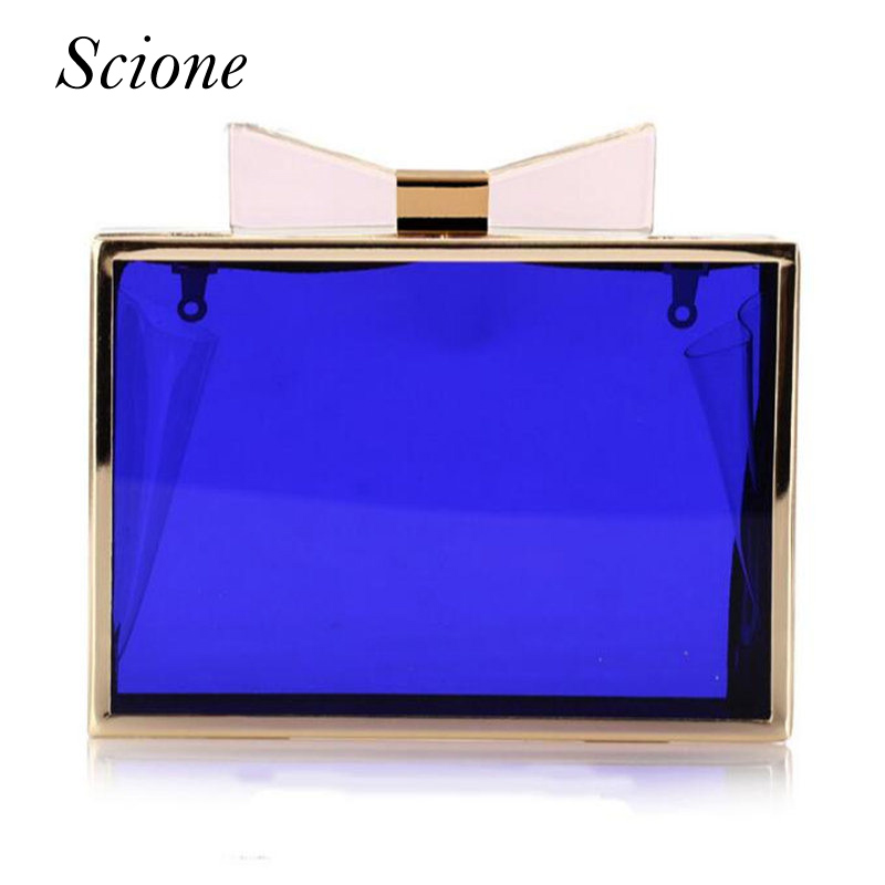 2017 Luxury Women Transparent Acrylic Day Clutch Clear Bow Purse Evening Bags Party Wedding Crossbody Shoulder Bag Banquet Li720 2015 new arrival acrylic bow clutch bag day storage box clutch bags women handbag brand designer transparent chain women wallets