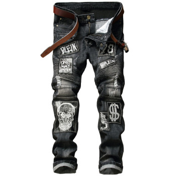 Mens Distressed Jeans Skull Patchwork Pleated Ripped Denim