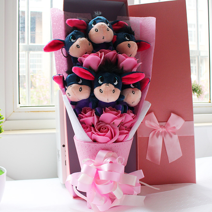 New Soft Eeyore Donkey With Soap Flowers Cartoon Bouquets Stuff Animal Plush Toys Creative Valentine Graduation Gift