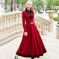 Women autumn lace patchwork long sleeved casual work party ball cotton bandage dresses plus size loose maxi dresses E7625