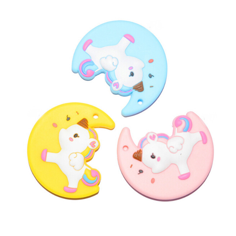 Diy Nursing Accessories Food Grade Silicone Baby Teething Toys Soft Silicone Teethers Moon Unicorn Teether Baby Shower Gift