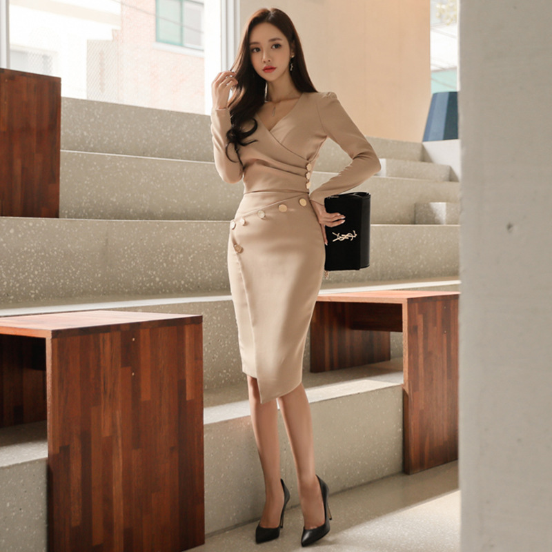 24a6edc2f502a US $39.8 |Foamlina Office Ladies Work Bodycon Dress Sets 2 Pieces Sets Long  Sleeve Draped Crop Top + Buttons Irregular Pencil Skirt Suits-in Women's ...