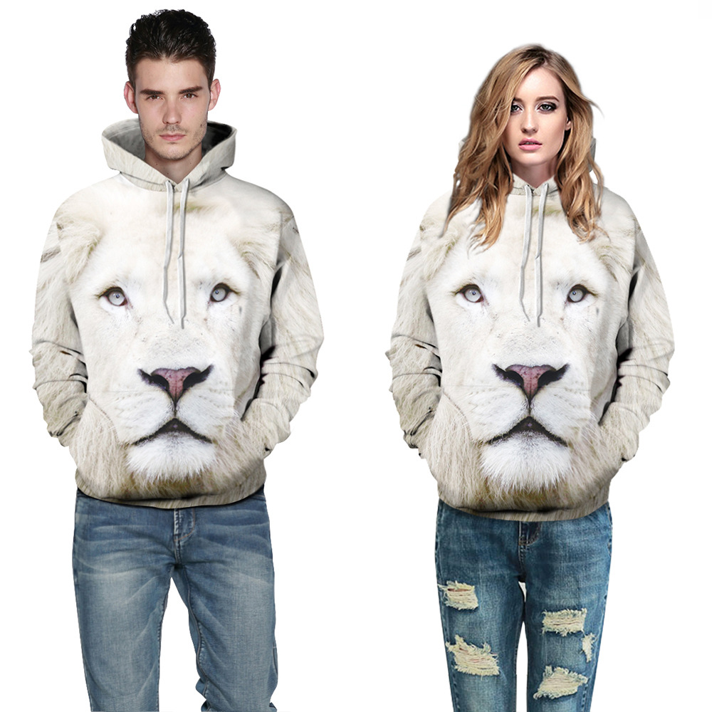 2018 Women/Men 3D Printing Hoodies Animal White Lion Front Pocket Loose Hoodies Unisex Winter Long Sleeve Hooded Pullover Coup