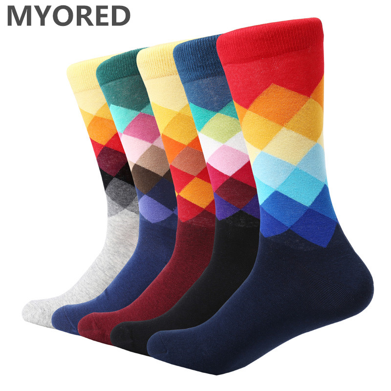 MYORED 5 pair/lot men's   Socks   combed cotton jacquard bright color diamond mens business   socks   casual dress wedding gift   socks
