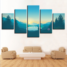 Canvas Pictures Home Decor Wall Art 5 Pieces Firewatch Painting Print Game Forest Mountain Deer Poster Modular Living Room Frame