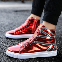 Fashion Sport Red Black Silver Pu Patent Leather British Flag High Top Sneakers Men's Casual Shoes