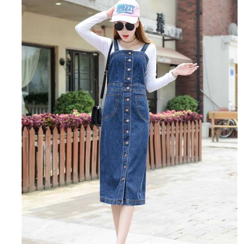 YAGENZ 2018 Весна/Лето женский джинсовый сарафан синий тонкий Sunspender джинсовое платье плюс размер 4XL 5XL повседневное джинсовое платье осень новое