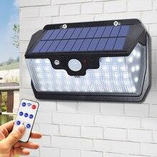 55 led 태양 빛 800LM 슈퍼 밝은 야외 방수 정원 벽 태양 램프 USB 충전 원격 제어와 함께 사용할 수