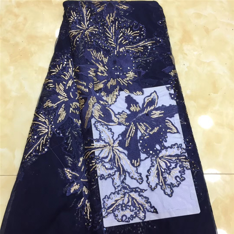 VILLIEA 2018 African Lace Fabric Pearl High Quality 3D Navy Blue Flower Embroidery Nigerian Lace Fabrics