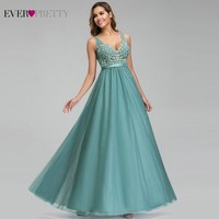 Ever Pretty Dusty Blue Bridesmaid Dresses V Neck Appliques Elegant Long Dresses For Wedding Party EP00930DB Vestidos De Madrinha