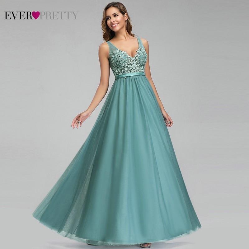 Ever Pretty Dusty Blue Bridesmaid Dresses V-Neck Appliques Elegant Long Dresses For Wedding Party EP00930DB Vestidos De Madrinha