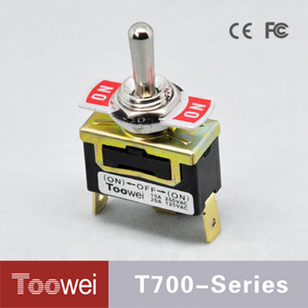Toowei 3P (ON)-OFF-(ON) double momentary toggle switch with quick connect terminal double reset 3 pins 3 gears T701MT 20pcs/lot