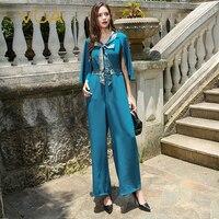 VOA плюс Размеры голубой поддельные из двух частей комплект тяжелый Шелковый комбинезон Для женщин накидка женские офисные шаль комбинезоны