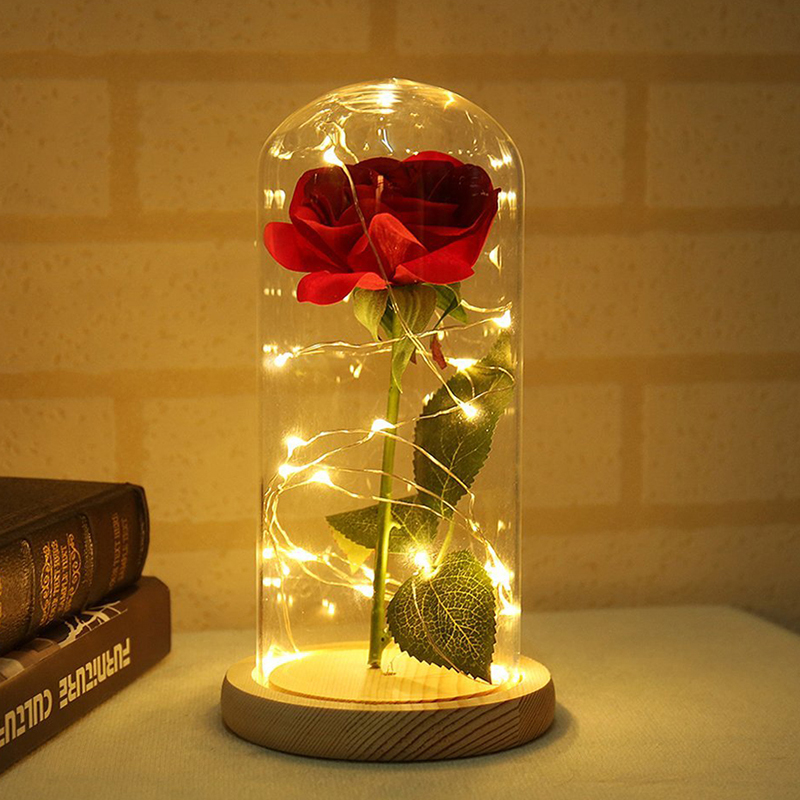 Beauty And Beast Battery LED Rose Powered String Desk Light Lamp Romantic Valentine's Day Birthday Gift Decoration Craft Toy