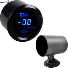 2 52mm Black Car Motor Digital Blue LED PSI Turbo Boost Gauge Meter + Pod