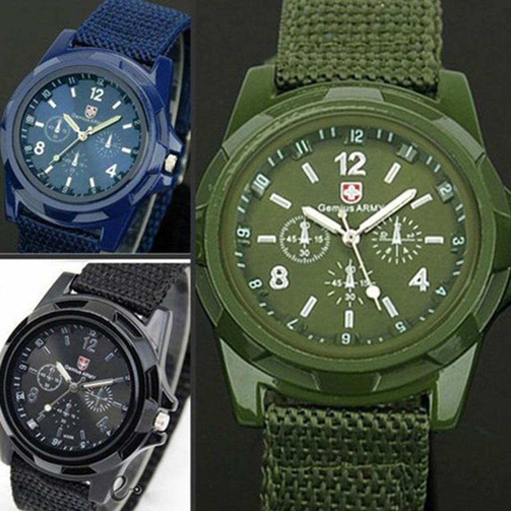 New Military Men Gemius Swiss Army Sport Round Dial Quartz Nylon Band Wrist Watch