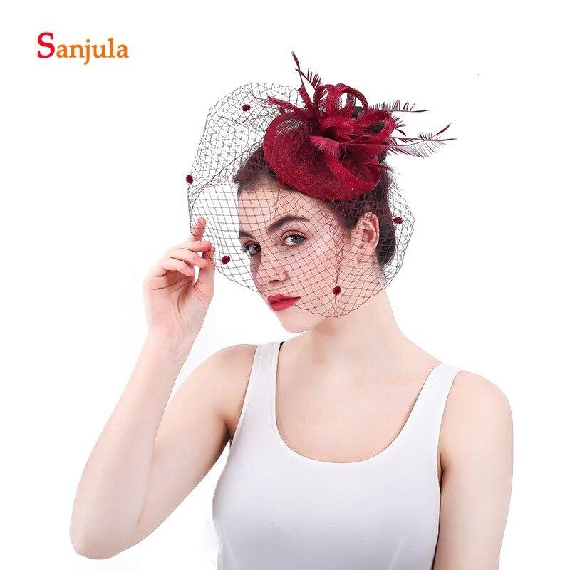 Burgundy Linen Hats For Women British Style Feathers Wedding Hat With Face Veil Wedding Headpiece Fleur Avec Voile Mariage H53