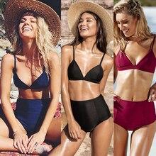 Sexy high waist 2 piece women's swimwear 2019 summer beach straps solid color bikini push up black bikini high quality nylon