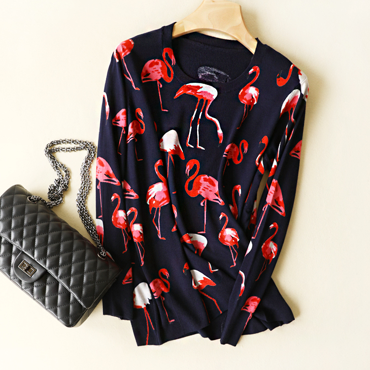 Flamingo Printed Round Neck Long Sleeved Wool Knitted