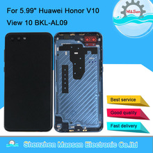 "Original M&Sen For 5.99"" Huawei Honor V10 View 10 BKL-AL09 Back Battery Cover Rear Door Case Housing Side Keys Glass Lens Flash"